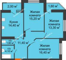 3 комнатная квартира 80,1 м² в Микрорайон Красный Аксай, дом Литер 26 - планировка