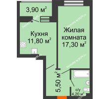 1 комнатная квартира 42,7 м² в ЖК Звездный, дом № 6