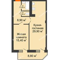 2 комнатная квартира 63,1 м², ЖК Sacco & Vanzetty, 82 (Сакко и Ванцетти, 82) - планировка