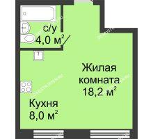 Студия 30,2 м² в ЖК Цветы, дом № 11 - планировка
