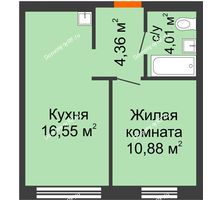 1 комнатная квартира 35,8 м² в ЖК Мозаика Парк, дом ГП-1 - планировка