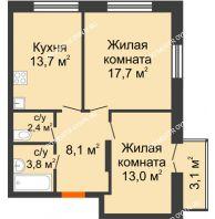2 комнатная квартира 59,63 м² в ЖК Заречье, дом №1, секция 2 - планировка