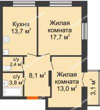 2 комнатная квартира 59,63 м² в ЖК Заречье, дом № 1 - планировка