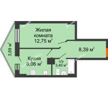 1 комнатная квартира 33,2 м² в ЖК Рубин, дом Литер 3 - планировка