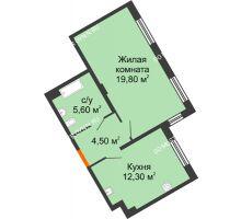 1 комнатная квартира 42,2 м² в ЖК Маршал Град, дом № 3 - планировка