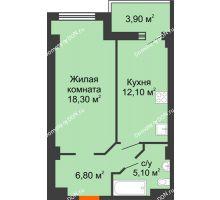 1 комнатная квартира 41,39 м² - ЖК Уютный дом на Мечникова