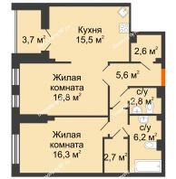 2 комнатная квартира 72,1 м² в Клубный дом Лобачевский, дом № 1 - планировка