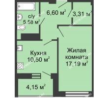 1 комнатная квартира 45,96 м² в ЖК Облака, дом № 1