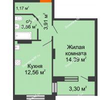 1 комнатная квартира 37,24 м², ЖК Розмарин - планировка