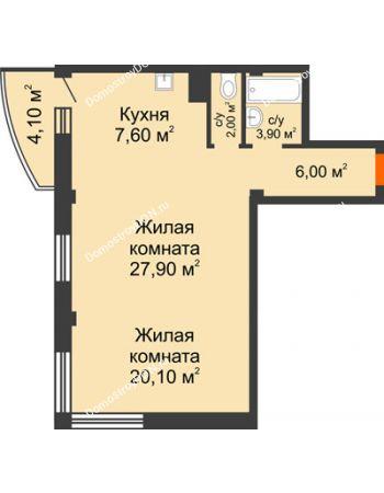 2 комнатная квартира 68,7 м² - ЖК Южная Башня