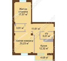 2 комнатная квартира 72,99 м² в ЖК На Победной, дом № 12 - планировка