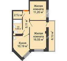 2 комнатная квартира 52,08 м², Жилой дом в 7 мкрн.г.Сосновоборск - планировка