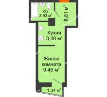 Студия 23,91 м² в ЖК Рубин, дом Литер 3 - планировка