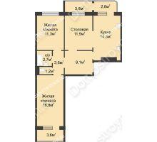 2 комнатная квартира 74,9 м² в ЖК Сормовская сторона, дом № 4