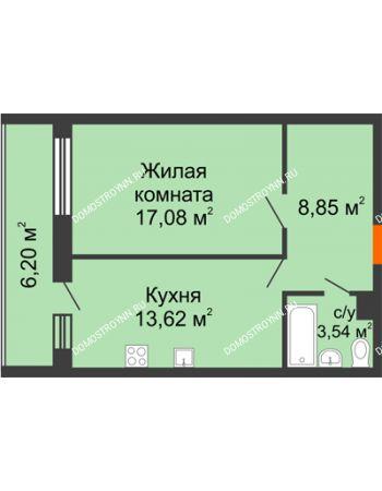 1 комнатная квартира 48,95 м² в ЖК Добрый, дом № 1