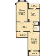2 комнатная квартира 79,59 м², Жилой дом: №23 в мкр. Победа - планировка