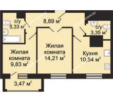 2 комнатная квартира 54,19 м², ЖК Гелиос - планировка