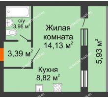 1 комнатная квартира 33,29 м², ЖК Дом у озера - планировка