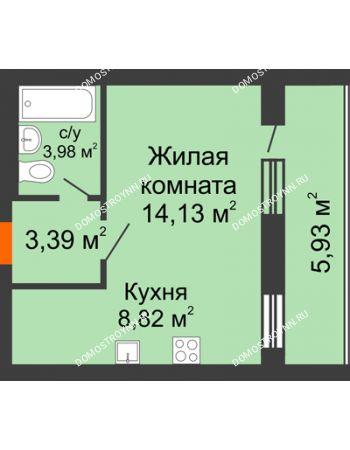 1 комнатная квартира 33,29 м² - ЖК Дом у озера