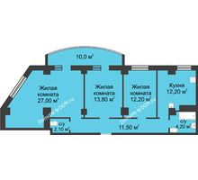 3 комнатная квартира 93 м², ЖК Крепостной вал - планировка