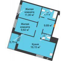 3 комнатная квартира 58,43 м² в ЖК Квартал на Московском, дом Альфа - планировка