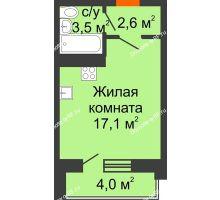Студия 25,2 м² в ЖК Парк Победы, дом Литер 2 - планировка