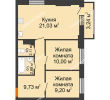2 комнатная квартира 55,92 м², ЖК КМ Флагман - планировка