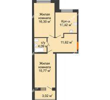 2 комнатная квартира 60,19 м², ЖК Вавиловский Дворик - планировка