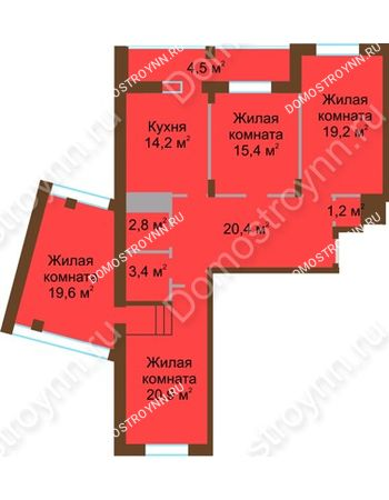 4 комнатная квартира 121,6 м² в ЖК Монолит, дом № 89, корп. 1, 2