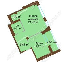 1 комнатная квартира 48,94 м², ЖК Либерти - планировка