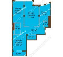 3 комнатная квартира 125,2 м², ЖК Бояр Палас - планировка