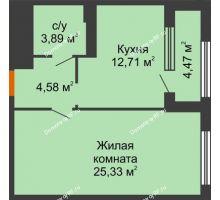 1 комнатная квартира 48,75 м², ЖК Гран-При - планировка