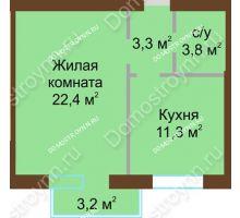 1 комнатная квартира 41,95 м² - Жилой дом: ул. Дворовая д. 30