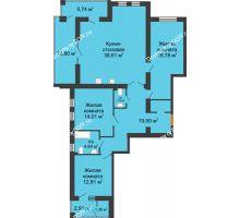 3 комнатная квартира 120,57 м² в ЖК Измаильский экоквартал, дом 1 этап - планировка