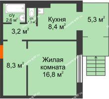 1 комнатная квартира 45,6 м² в ЖК Мичурино, дом № 3.2 - планировка