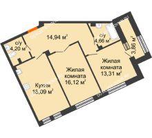 2 комнатная квартира 71,32 м², Дом премиум-класса Коллекция - планировка