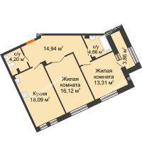 2 комнатная квартира 73,25 м², Дом премиум-класса Коллекция - планировка