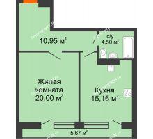 1 комнатная квартира 56,51 м², ЖК Царское село - планировка
