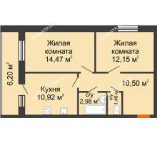 2 комнатная квартира 58,72 м² в ЖК Добрый, дом № 1