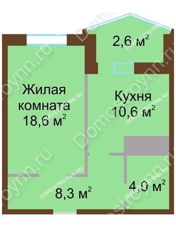1 комнатная квартира 44,1 м² в ЖК Монолит, дом № 89, корп. 1, 2