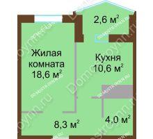 1 комнатная квартира 44,1 м² в ЖК Монолит, дом № 89, корп. 1, 2 - планировка