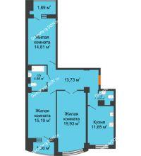 3 комнатная квартира 88,86 м² в ЖК Университетский 137, дом Секция С1 - планировка