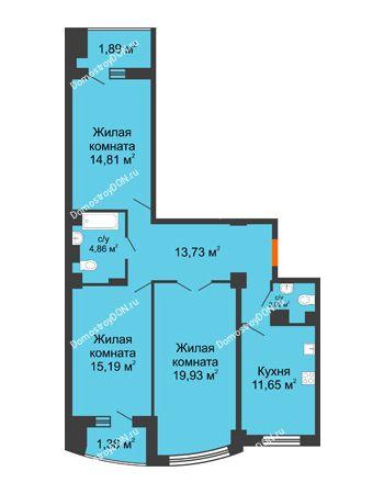 3 комнатная квартира 88,86 м² в ЖК Университетский 137, дом Секция С1