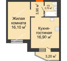 2 комнатная квартира 42,2 м² в ЖК 5 Элемент - Монолит (Пятый Элемент), дом Корпус 5-7 - планировка