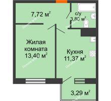 1 комнатная квартира 37,28 м² в ЖК Юго-Западный, дом ГП-1