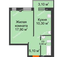 1 комнатная квартира 39,23 м² в Микрорайон Европейский, дом №9 блок-секции 1,2 - планировка