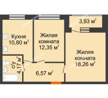 2 комнатная квартира 56,08 м² в ЖК Подкова на Гагарина, дом № 2 - планировка