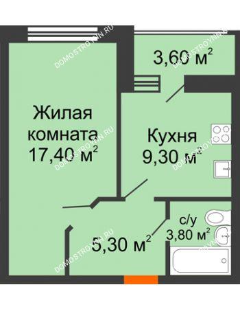 1 комнатная квартира 37,6 м² в ЖК Цветы, дом № 22-2