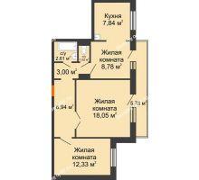 2 комнатная квартира 62,3 м² в ЖК Иннoкeнтьeвcкий, дом № 6 - планировка