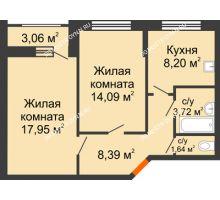 2 комнатная квартира 55,52 м², Жилой дом: ул. Сухопутная - планировка